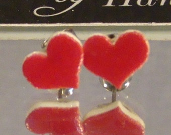 Red Heart Stud Earrings - Valentine's day Jewelry - Love Jewellery
