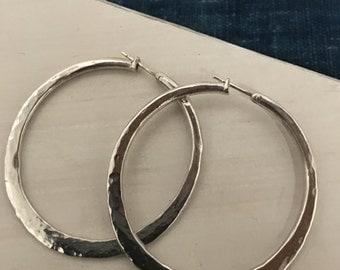 Hoop Earrings, Medium, Sterling Silver, Brass, Gift for her