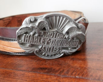 Harley Davidson Motor Cycle Buckle and Authentic Harley Belt Circa 1989