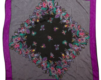 Purple and Black  Floral Checkered Scarf