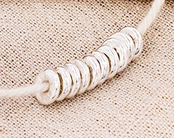 10 of Karen Hill Tribe Silver Disc Beads 8x2 mm. :ka4277