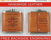 20% OFF SALE Set of 5 Personalized Flask for Groomsmen - Handmade Leather Wrapped Flasks - Wedding Party Gifts - FREE Engraved Note on Backs