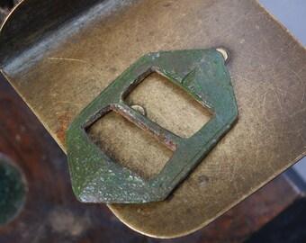 Antique primitive brass belt buckle, finding