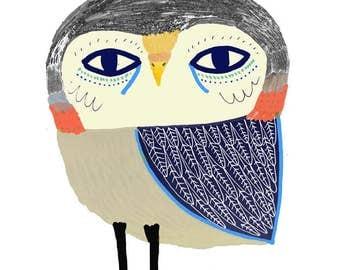 Cutey Owl. Illustration Art Print, kids art, nursery decor, owl art.