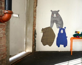 GINGIBER 3 BEARS Eco-Friendly Reusable Fabric Wall Decals by Pop & Lolli