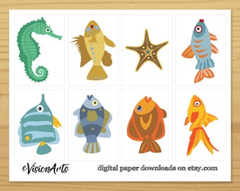 Fish Gift Tags, Goldfish Gift Tag, Sea Gift Tags, Beach Gift Tags, Cute Gift Tags, Ocean Gift Tags, Digital Download