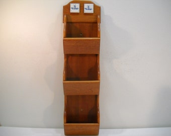 Vintage Wooden Letter Mail Holder Organizer Rack 3 Slots With Windmill Tiles