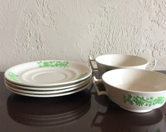 Vintage Copeland Spode Shamrock China Set  Bullion Cups and Saucers | FL on sale
