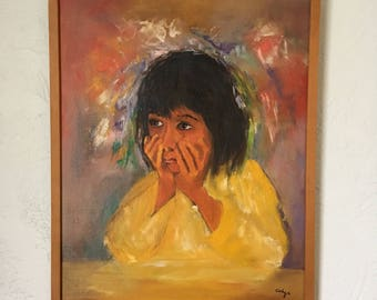 Vintage original painting on canvas of child,colourful painting framed,Brazilian painting of child