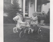 1950's Toddler on antique horse toy vintage photo