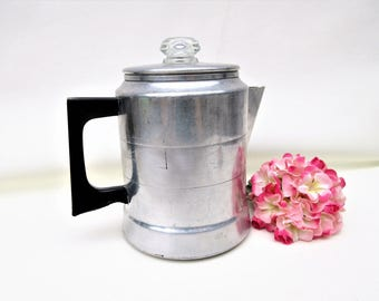 Vintage Aluminum Coffee Pot | Stove Top Percolator | Comet Pot