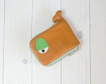 Whale wallet, Spring in the forest, orange and green