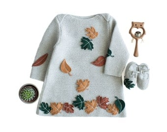 A knitted baby dress with felt  leaves. 100% wool. READY TO SHIP 6-9 months. Item Unique