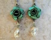 Rose Earrings, Rose Crystal Drop Earrings, Turquoise Rose Earrings, Rose Jewelry