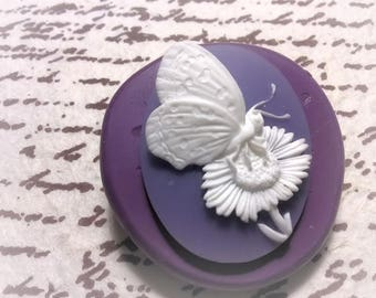 Butterfly and flower Cameo flexible silicone mold / mould