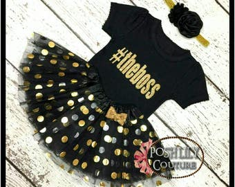 Theboss girl outfit,black and gold the boss tutu set,sparkly one gold glitter the boss top gold polka tutu,black and gold smash cake outfit