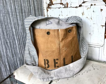 BELL - reconstructed vintage postes france sling bag with bell system pockets