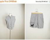 MLK - 20% off SALE - Vintage 50s Black White Gingham Shorts Top Play Set // womens medium - size 6/8