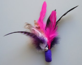 Cat Toy Purple and Pink Feather Flier with Catnip and Bell