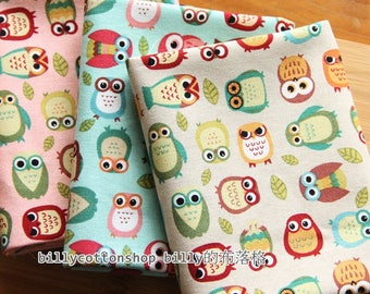 m237_55 - owl fabrics - cotton linen fabrics ( 5 color to choose) in Half Yard