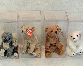 4 Retired Ty Beanie Babies.. Original Bears.. W Display Cases.. Eucalyptus, Aurora, Pecan and Almond.. 1998-2000.. MWMT