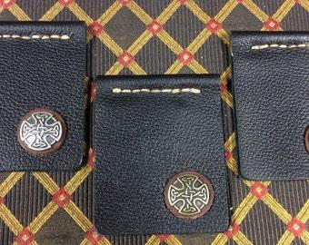Slim black leather fold-over money clip