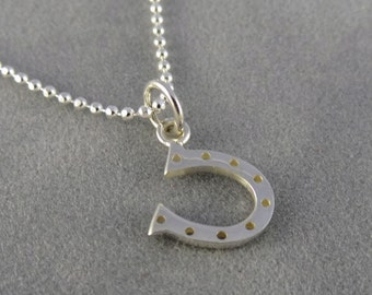 Silver Horseshoe Charm Necklace - Good Luck Necklace - Gift Idea Mom, Daughter, Wife, Best Friend