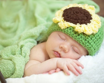 Sunflower Newborn Hat, Green Newborn Prop Hat, Newborn Hat, Baby Hat, Green Hat with Sunflower, Sunflower Baby Hat, sunflower hat