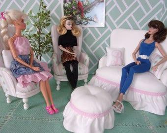 1:6 Chair & Sofa Set, for Silkstone Barbie, Fashion Royalty, Blythe. Barbie