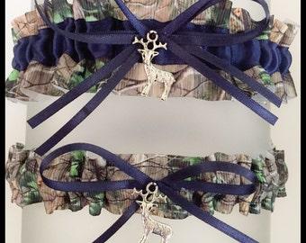 Sexy Realtree Navy Blue Satin Wedding Keepsake Or Garter Set - Bridal Set - Pick Your Charm - Camouflage Prom Weddings Accessories