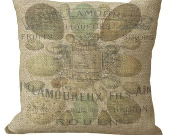 French Label Over Eggs Linen or Burlap in Choice of 14x14 16x16 18x18 20x20 22x22 24x24 26x26 inch Pillow Cover