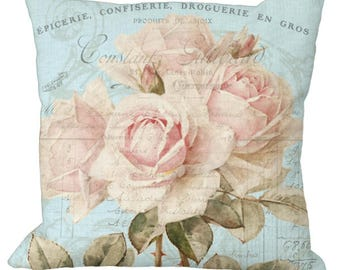 Romantic Shabby and Chic Faded Pale Pink Roses on Aqua in Choice of 14x14 16x16 18x18 20x20 22x22 24x24 26x26 inch Pillow Cover