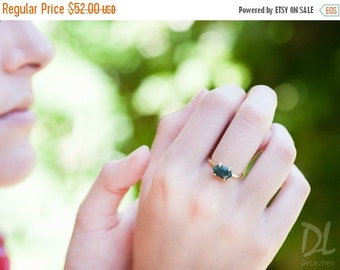 HOLIDAY SALE - Stack Green Raw Emerald Ring Gold - May Birthstone Ring - Solitaire Stone Ring - Stacking Ring - Gold Ring - Marquise Prong S