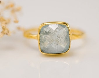 SALE - Aquamarine ring Gold - March Birthstone Ring - Solitaire Ring - Stacking Ring - Gold Ring - Cushion Cut Ring
