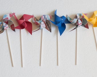 Carnival Circus Vintage Circus Inspired, Carnival themed party, Circus Wedding theme - 12 mini Spinnning Pinwheels (Custom orders welcomed)