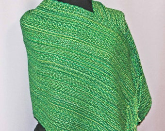 Green hand woven cotton shawl, handwoven green cotton shawl