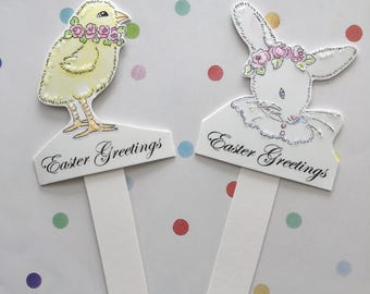 Easter Greetings, Two Picks, Bunny and Chick, Decorations