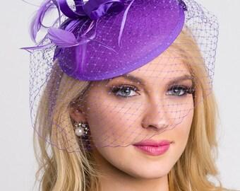"Purple Fascinator - ""Juliet"" Purple Round Felt Sinamay Hat w/ Feathers and Satin Ribbons"