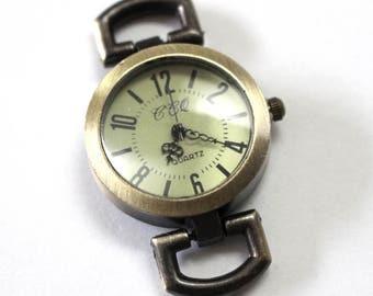 1 Round Vintage Look Bronze Tone Quartz Watch Face, for interchangeable bands - craft supplies, watch making