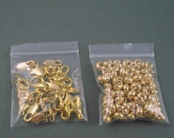 Destash Gold Finish Clasps, Crimp Covers