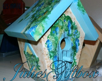 Hand Crafted Birdhouse, Painted Robins Egg Blue, Brown, Green Cottage Bird House, Indoor, Outdoors