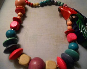 Parrot Wood Necklace with Beautiful Color Beads ~ Summer Luau Party Ready