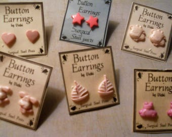 Pink Button Earrings of Cows, Sailboats, Dog, Stars, Frogs and Hearts ~ Girls or Boys of All Ages
