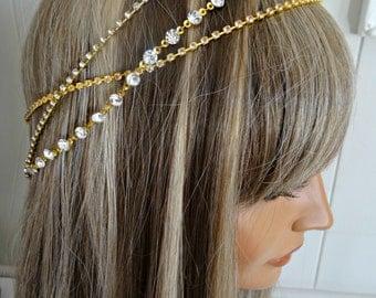 Bridal Headpiece Wedding Headpiece Headpiece Head Jewelry Chain Head piece Hair Jewelry Head Chain Bridal Head Chain Hair Chain Ellen Gold