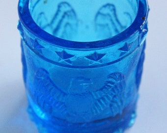 Blue Glass Eagle, Patriotic Toothpick Holder, Vintage Toothpick Holder