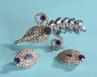 1960s Aurora Borealis Brooch Earrings - Purple Rhinestones - 1950s Vintage Fashions