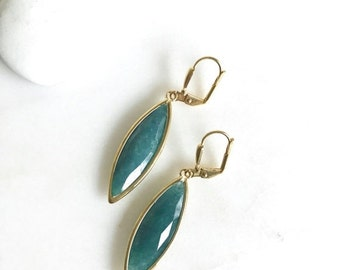 Simple Teal Green Drop Earrings.