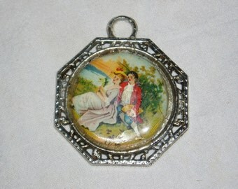 Victorian Style Pendant, Couple Sitting by Lake
