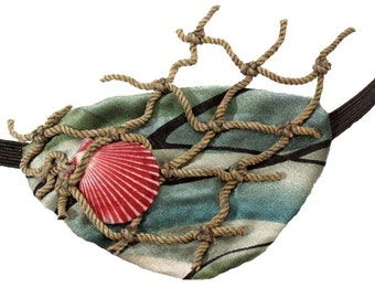 Ocean Eye Patch Mermaid Nautical Victorian Steampunk Pirate Fantasy Fashion Shell Net