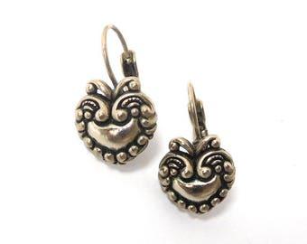 Vintage Heart Earrings Victorian Revival/Art Nouveau Silver tone Wedding Mom Great gift!